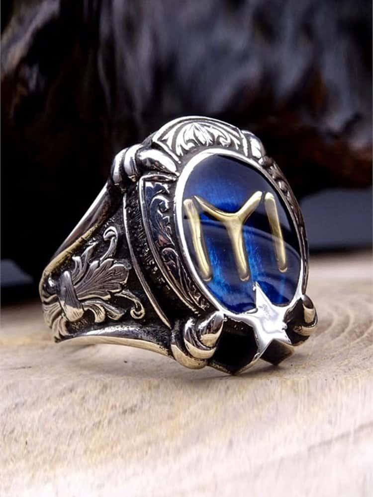 Kayi Tribe Silver Mens Ring