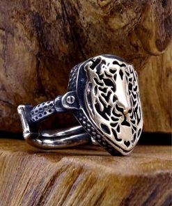 Lion Face Mens Silver Ring-dirilis-ring