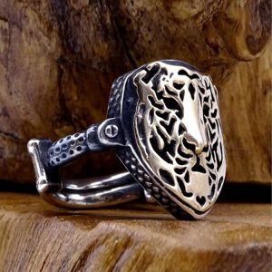 Lion Face Mens Silver Ring
