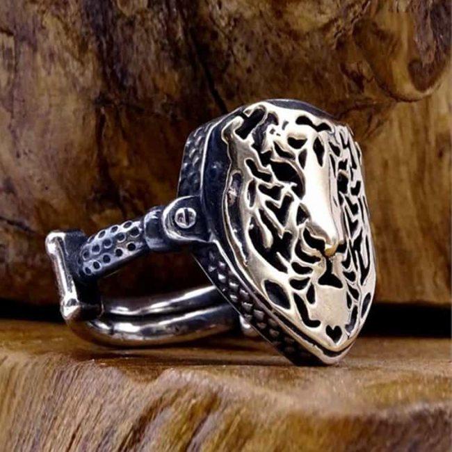 Lion Face Mens Silver Ring-dirilis-ring