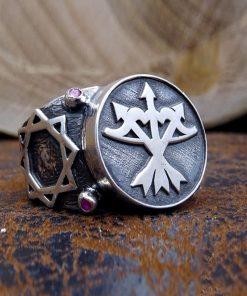 Three Arrows Bow Silver Mens Ring-dirilis ring-ertugrul ring