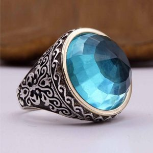 Turquoise Silver Mens Ring