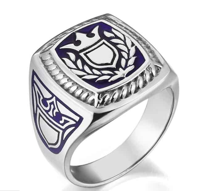 The Protector Mens Silver Mine Ring with Shield Symbol