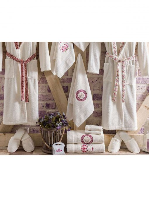 mens womens turkish terry cotton bath house robe 5 510x680 - White Embroidered Bamboo Robes