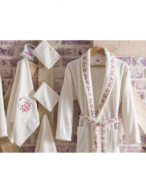 mens womens turkish terry cotton bath house robe 6 510x680 - White Embroidered Bamboo Robes