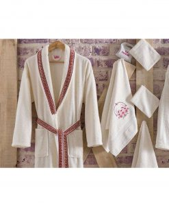 mens womens turkish terry cotton bath house robe2 247x296 - White Embroidered Bamboo Robes