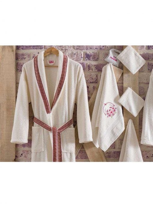 mens womens turkish terry cotton bath house robe2 510x680 - White Embroidered Bamboo Robes