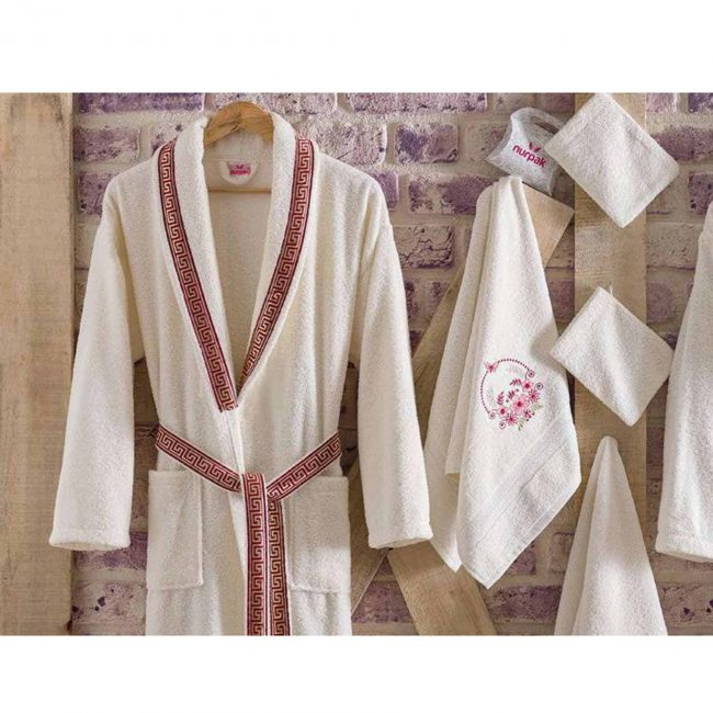 mens womens turkish terry cotton bath house robe2 650x650 - White Embroidered Bamboo Robes