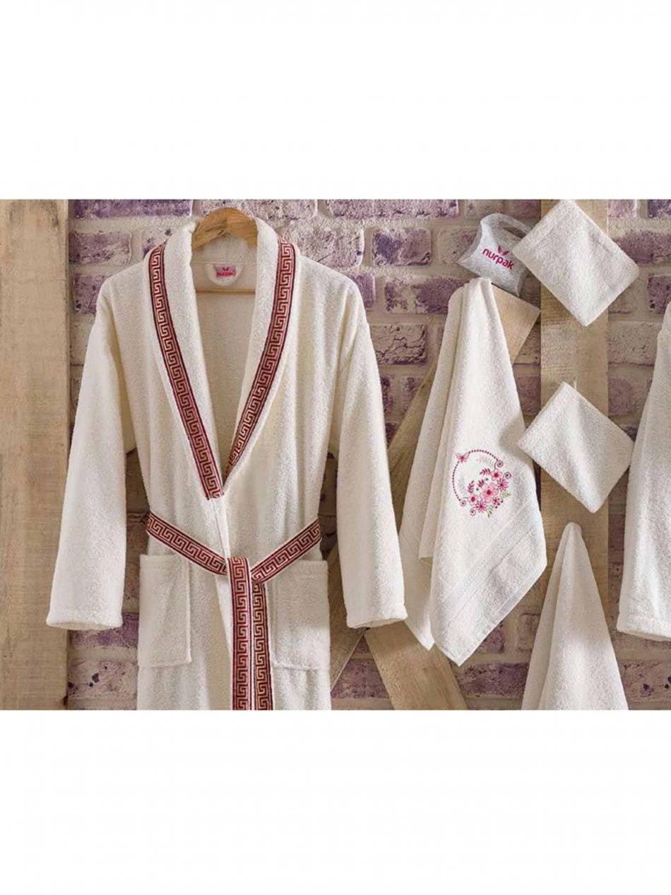 mens womens turkish terry cotton bath house robe2 950x1267 - White Embroidered Bamboo Robes