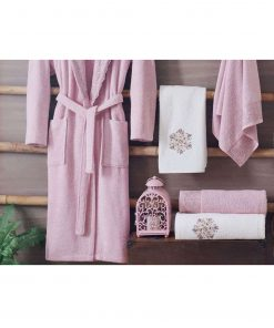 pink luxury cotton spa bath robes mens womens 247x296 - White Pink Turkish Cotton Robes
