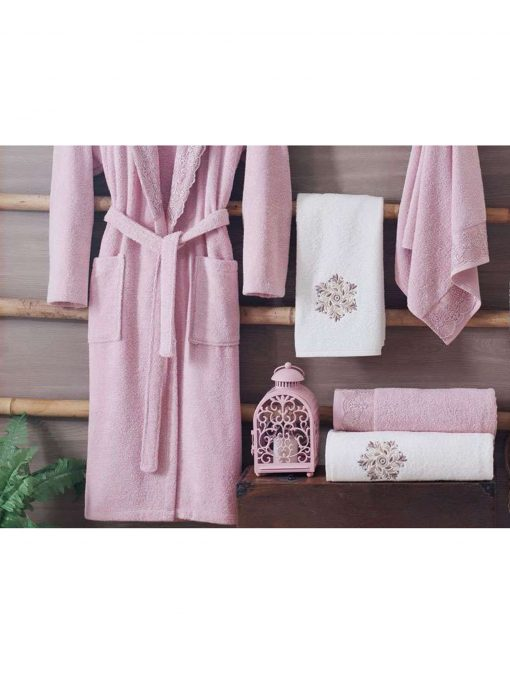 pink luxury cotton spa bath robes mens womens 510x680 - White Pink Turkish Cotton Robes