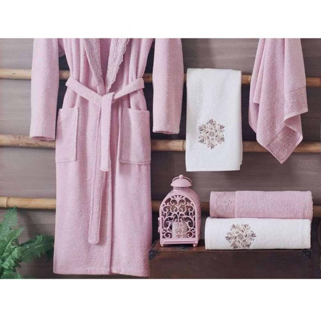 pink luxury cotton spa bath robes mens womens scaled 650x650 - White Pink Turkish Cotton Robes