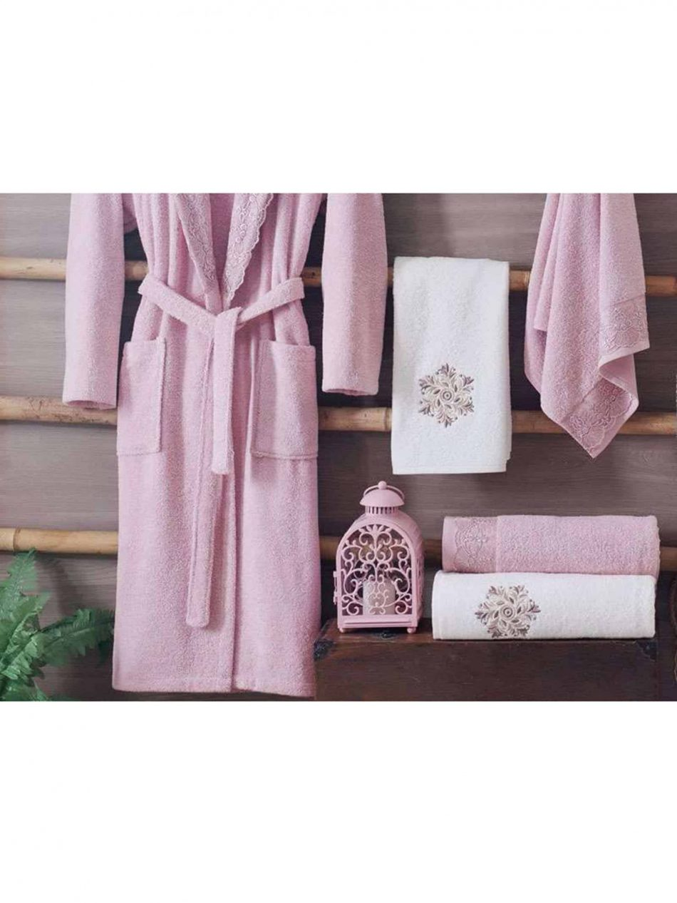 pink luxury cotton spa bath robes mens womens scaled 950x1266 - White Pink Turkish Cotton Robes