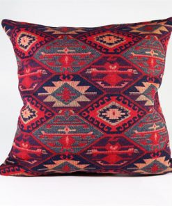 Burgundy Navy Blue Rug Pillow Turkish Kilims Pillows Case