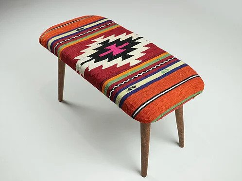 Home Decor Kilim Bench Bohemian Decor Wood Legs Eclectic Style Furnitures