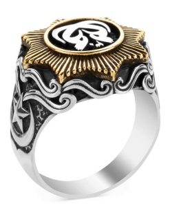 Payitaht Abdulhamid Series Moon Starry Bunting Bird Silver Ring