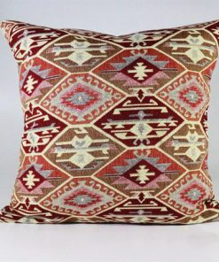 Turkish Kilims Pillows Case Beige Burgundy