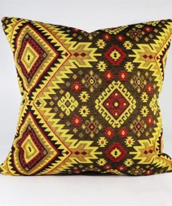 Turkish Kilims Pillows Case Yellow Brown Rug Pillow