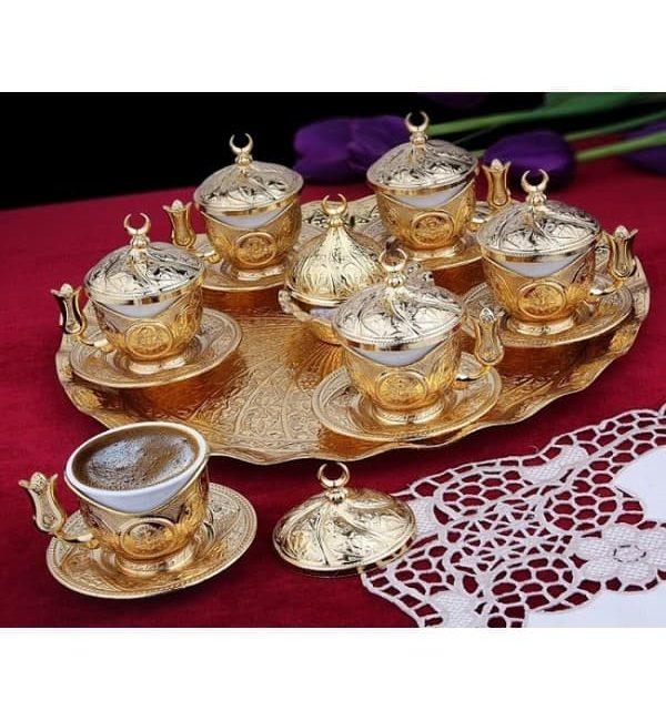 Turkish Ottoman Copper Coffee Set