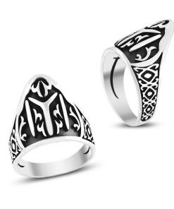 Yİ Kayı Tribe Tuhmb Rings 247x296 - Patterned Kayı Tribe Men's Silver Ring