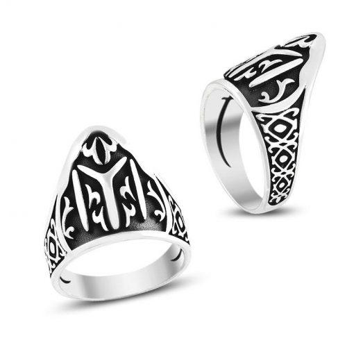 Yİ Kayı Tribe Tuhmb Rings 510x510 - Patterned Kayı Tribe Men's Silver Ring