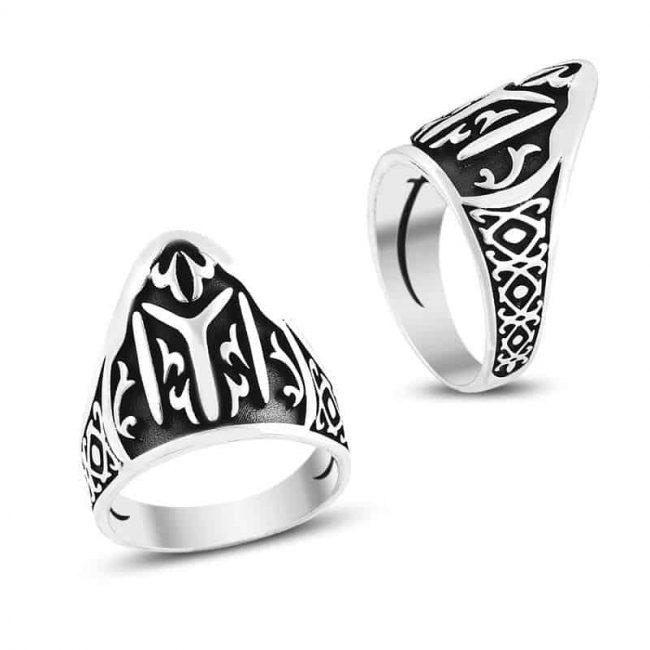 Yİ Kayı Tribe Tuhmb Rings 650x650 - Patterned Kayı Tribe Men's Silver Ring