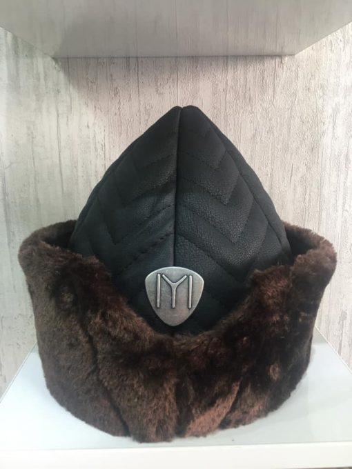 brown leather hat
