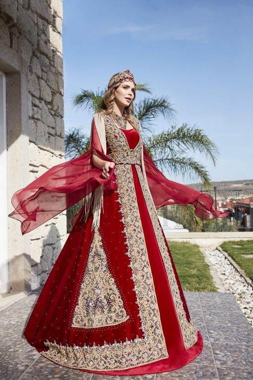 Red Velvet Long Henna Dress Caftan