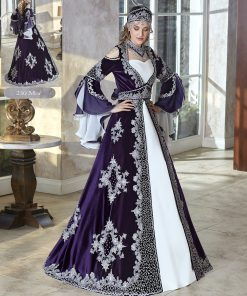 African Royal Purple Silver Embellished Flounce sleeve Long Fancy Kaftan Dresses
