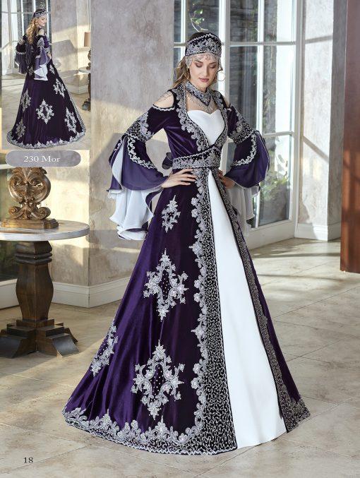 African Royal Purple Silver Embellished Flounce sleeve Long Fancy Kaftan Dresses