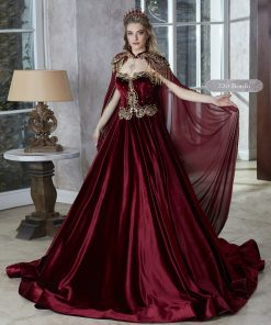 Floor Length Velvet Sleeveless Gold Embroidered Kaftan Gown Dresses