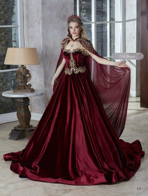 Floor Length Velvet Sleeveless Gold Embroidered Kaftan Gown Dresses