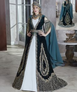Luxury Elegant Lace Appliqued Celebrity Gold Sequin Long Slit Sleeve Ball Gown Kaftans