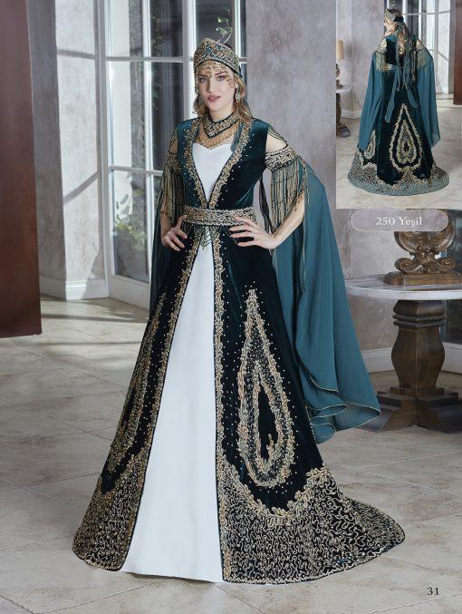 Luxury Elegant Lace Appliqued Celebrity Gold Sequin Long Slit Sleeve Ball Gown Kaftans