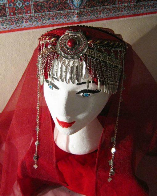 Ertugrul Head Dress Turkish Woman Head Dress Red 2 510x638 - Turkish Woman Head Dress Red