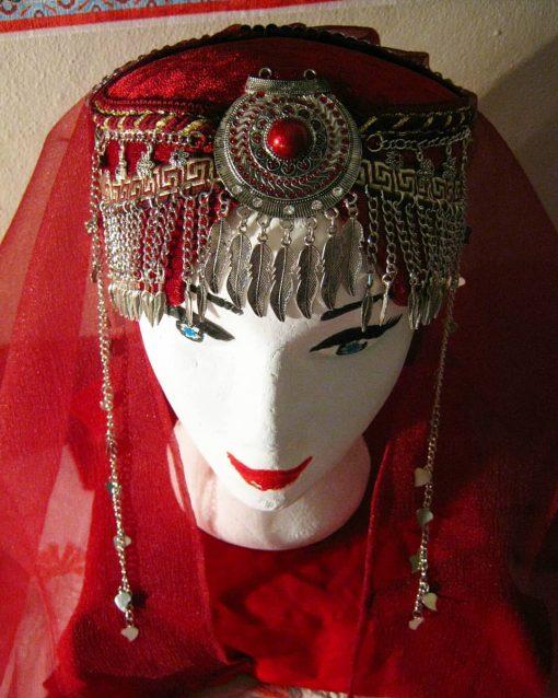 Ertugrul Head Dress Turkish Woman Head Dress Red 3 510x638 - Turkish Woman Head Dress Red