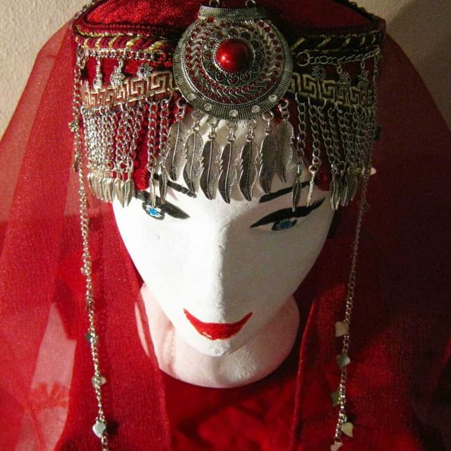 Ertugrul Head Dress Turkish Woman Head Dress Red 3 650x650 - Turkish Woman Head Dress Red