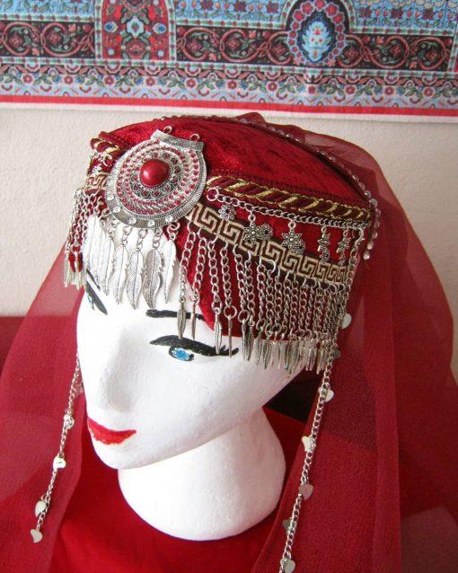 Ertugrul Head Dress Turkish Woman Head Dress Red 4 510x638 - Turkish Woman Head Dress Red