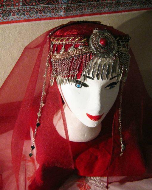 Ertugrul Head Dress Turkish Woman Head Dress Red 6 510x638 - Turkish Woman Head Dress Red