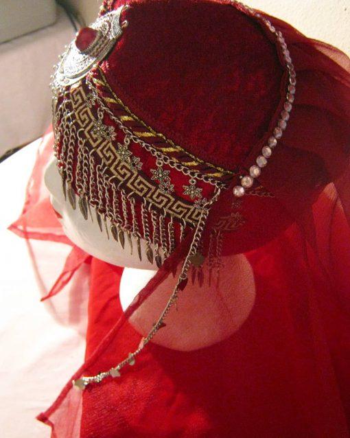 Ertugrul Head Dress Turkish Woman Head Dress Red 7 510x638 - Turkish Woman Head Dress Red