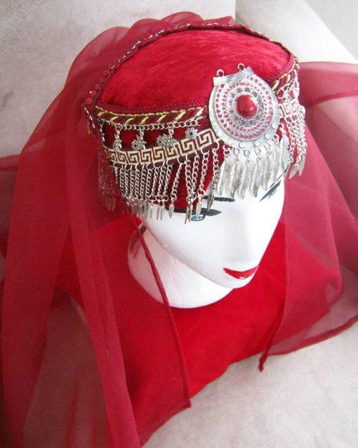 Ertugrul Head Dress Turkish Woman Head Dress Red 8 510x638 - Turkish Woman Head Dress Red