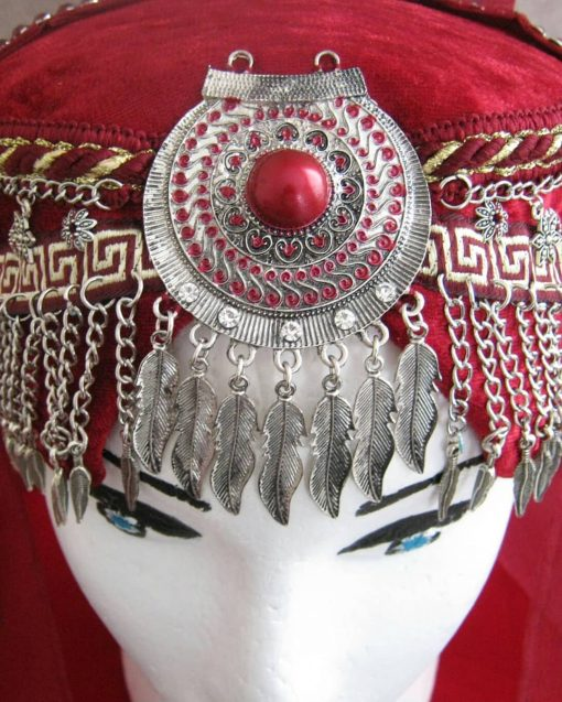 Ertugrul Head Dress Turkish Woman Head Dress Red 9 510x637 - Turkish Woman Head Dress Red