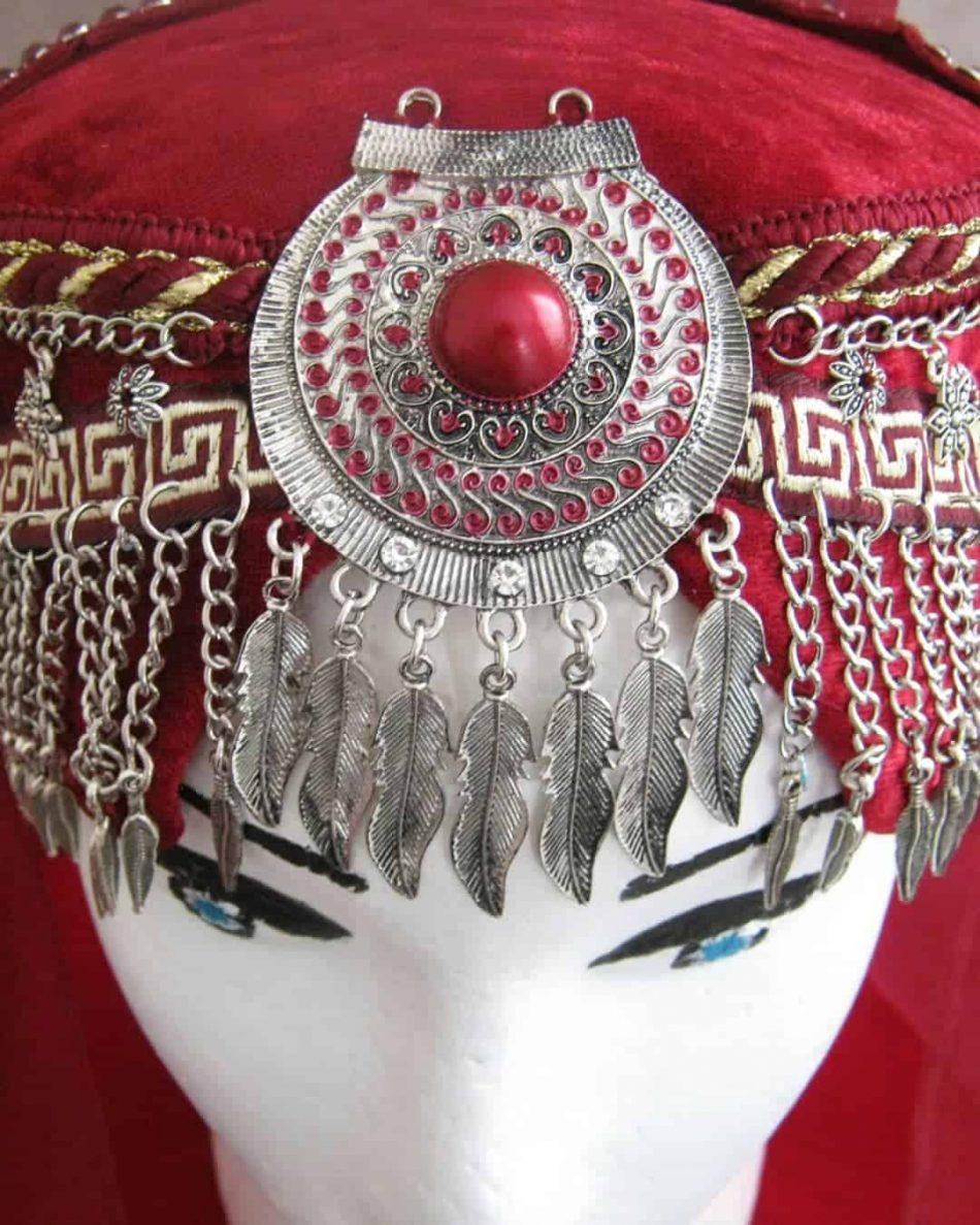 Ertugrul Head Dress Turkish Woman Head Dress Red 9 950x1187 - Turkish Woman Head Dress Red