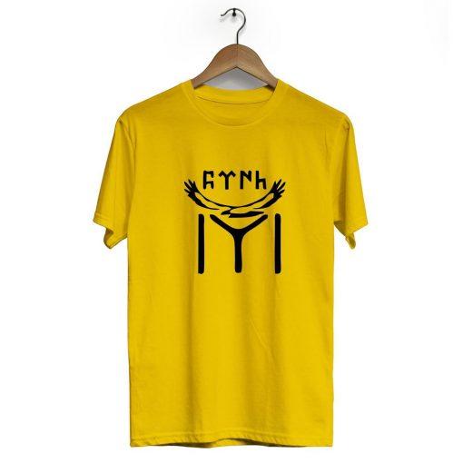 Kayi Tribe eagle Crew Neck Short Sleeve T Shirt Yellow 510x510 - IYI Eagle Neck Short Sleeve T-Shirt