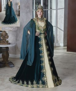 long gold sequin emerald green velvet floor length fully front embellished kaftan dress