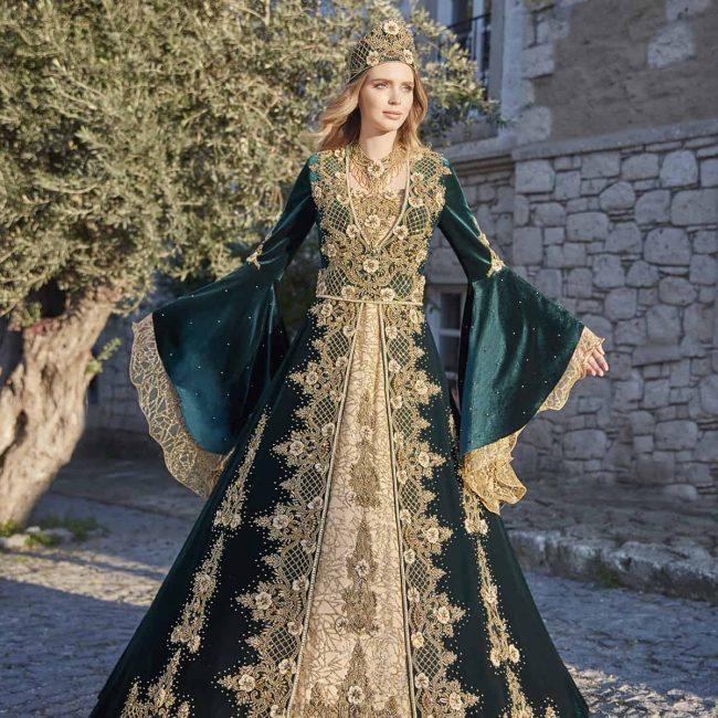 hunter green elegant long sleeve sequin embellished evening dresses