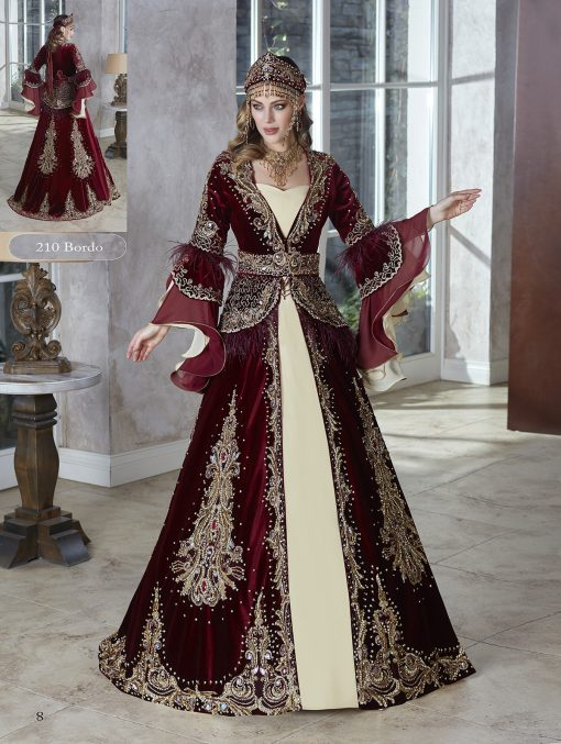 engagement henna party wear floor length gowns with sleeves for bride in burgundy