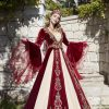 Where to buy online tall maxi length red gold sequin embroidered fancy kaftan gowns with long sleeve online