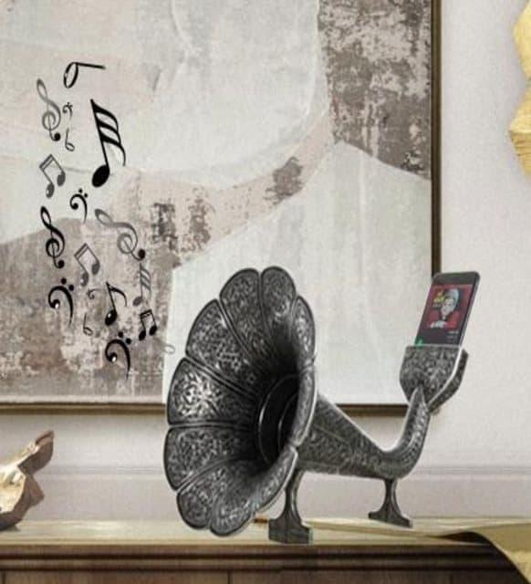 Acoustic Gramophone Speaker Phone Dock White 3 - Acoustic Gramophone Speaker Phone Dock