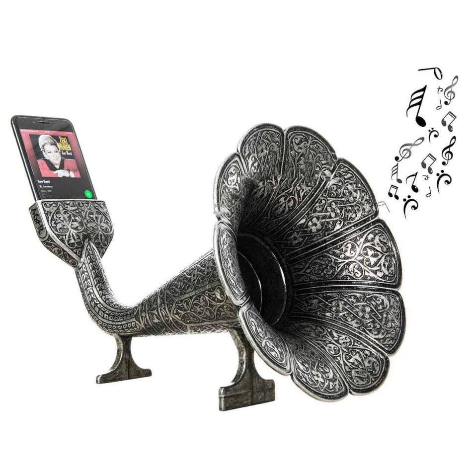 Acoustic Gramophone Speaker Yellow Tinned 950x950 - Acoustic Gramophone Speaker Phone Dock